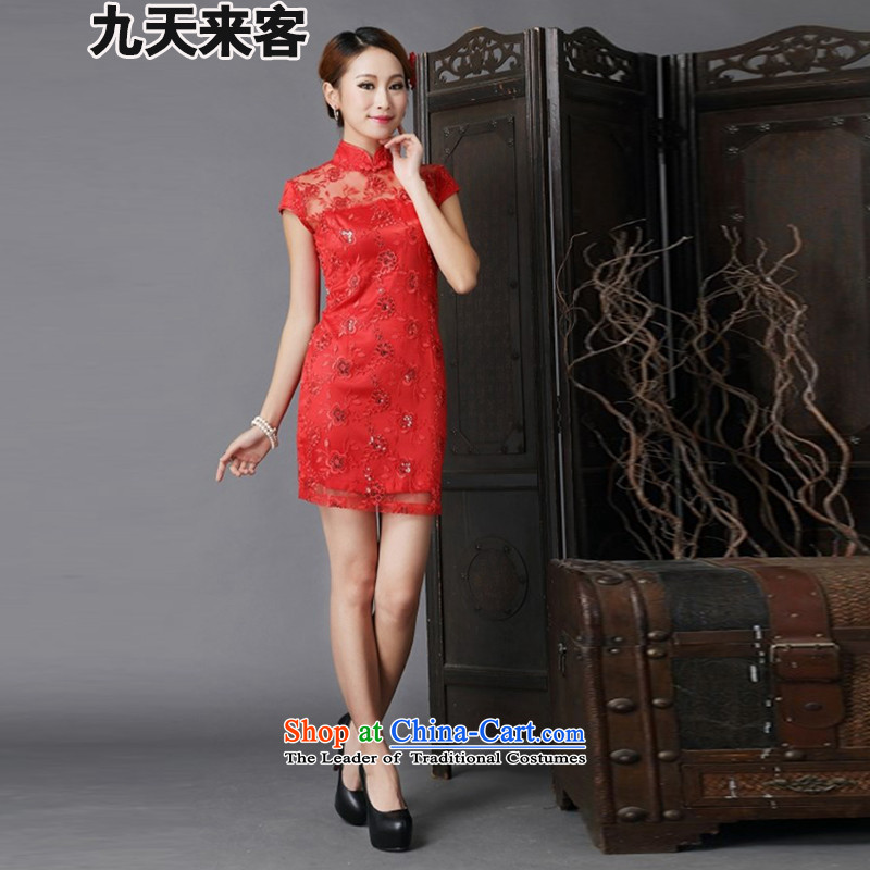 9 Day Visitors 2015 annual meeting of the new show wedding dresses marriages of nostalgia for the improvement of services 6638 Red bows qipao red?XL