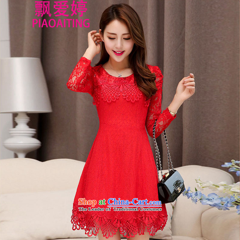 Piao Love Ting?2015 Autumn replacing new madame marriages bows evening dresses red long skirt wedding dress autumn and winter female RED?M