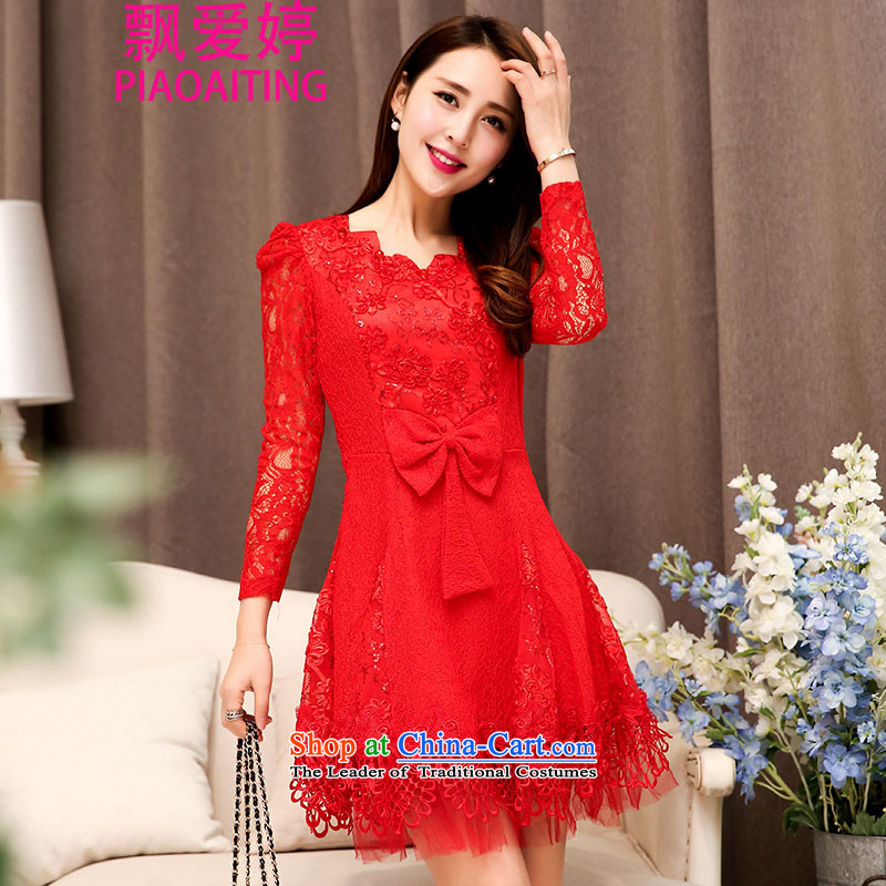 Piao Love Ting�2015 Autumn replacing new madame marriages bows evening dresses female red long skirt wedding dress autumn and winter female red�XXL