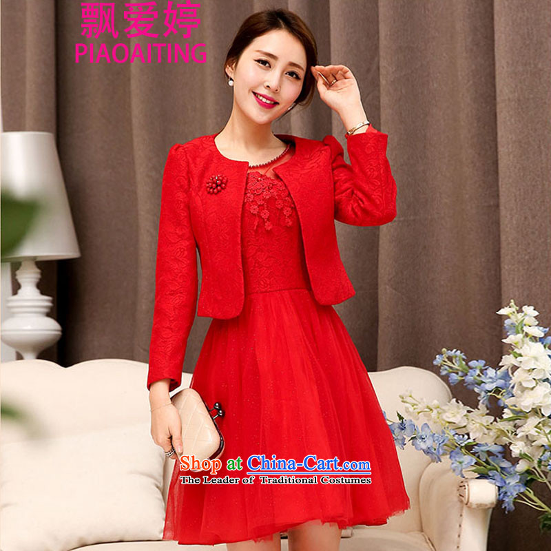 Piao Love Ting?2015 Autumn replacing new madame marriages bows evening dresses two kits red long skirt wedding dress autumn and winter female red?L