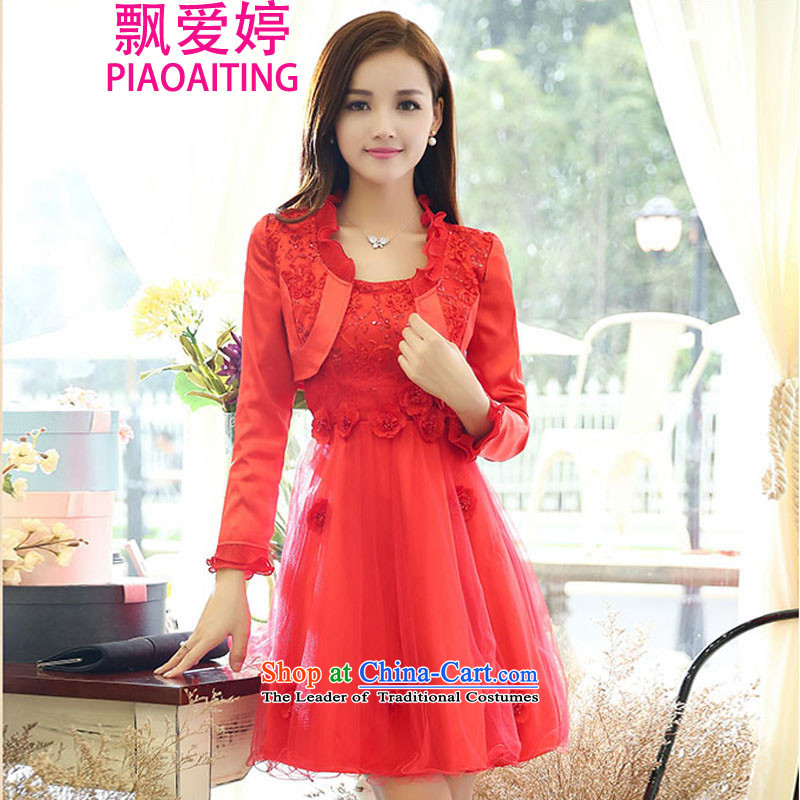 Piao Love Ting�2015 Autumn replacing new madame marriages bows evening dresses two kits for larger red long skirt wedding dress autumn and winter female red�XXXL