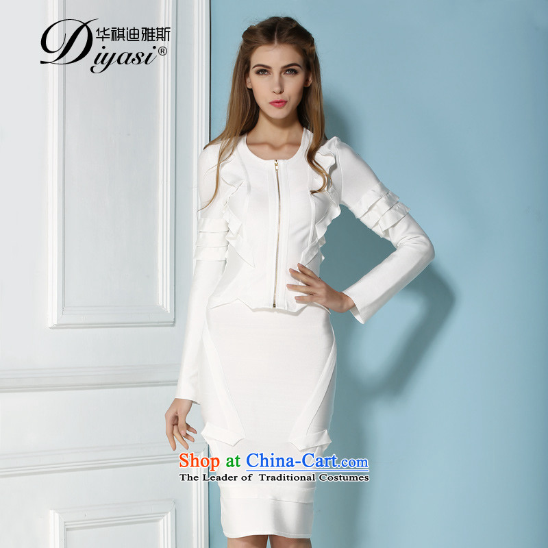 2015 Spring/summer the new two-piece lace dresses high-end fashion for larger packages of Sau San dresses and bandages skirt white?XS