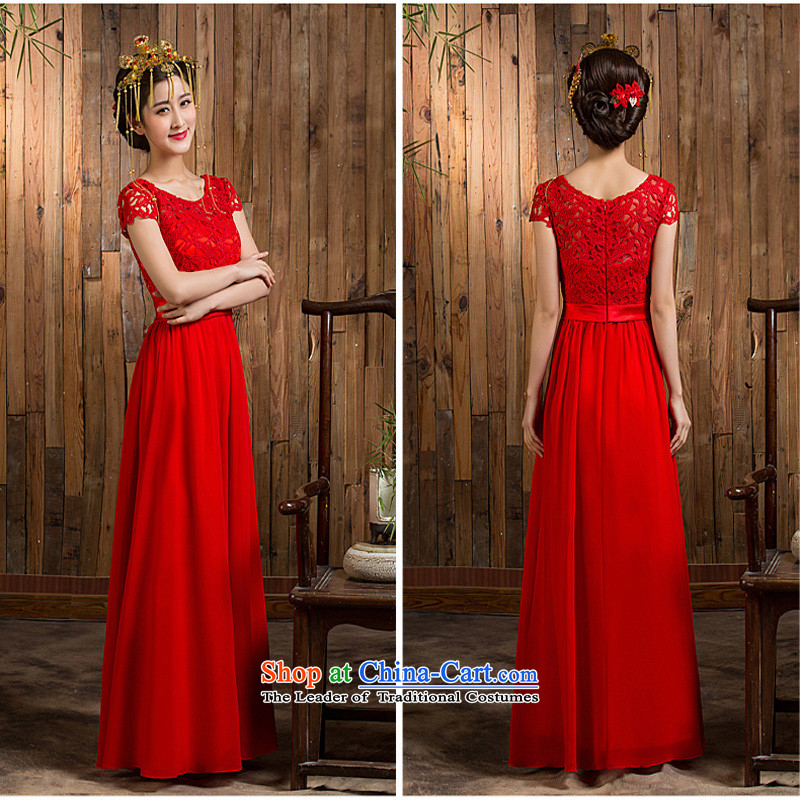 Pure Love bamboo yarn 2015 new red bride wedding dress long evening dresses evening drink service red shoulders long red dress Sau San 7 cuff or short-sleeved videotaped message?XXL