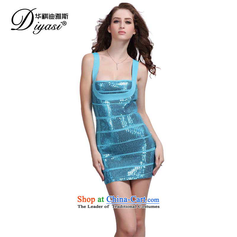 Hua Qi Avandia, 2015 spring/summer the new Europe and the upscale pearl evening sexy night package and bandages dress skirt BLUE PEARL M