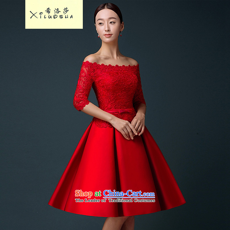 Hillo XILUOSHA Lisa (short) Bride dresses) bows services 2015 new word in shoulder cuff wedding dress lace wedding dress satin red XL