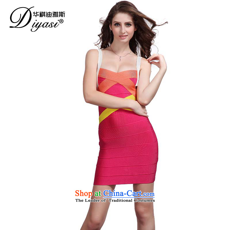 Hua Qi Avandia, new sexy straps red and gathering package for small Dress Short of Sau San dresses RED�M