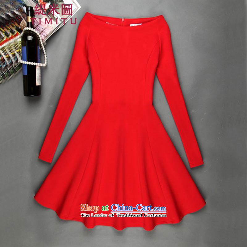 Economy by 2015 autumn the new figure for women small-wind fields for a small-sleeved black skirt Sheikh small black skirt dress red L