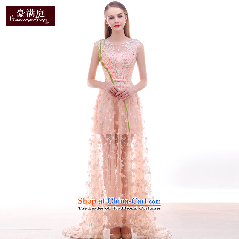 Ho full Chamber of small trailing gown shoulders U-collar engraving lace flowers weddings high-end dinner custom Yuk-pink�S