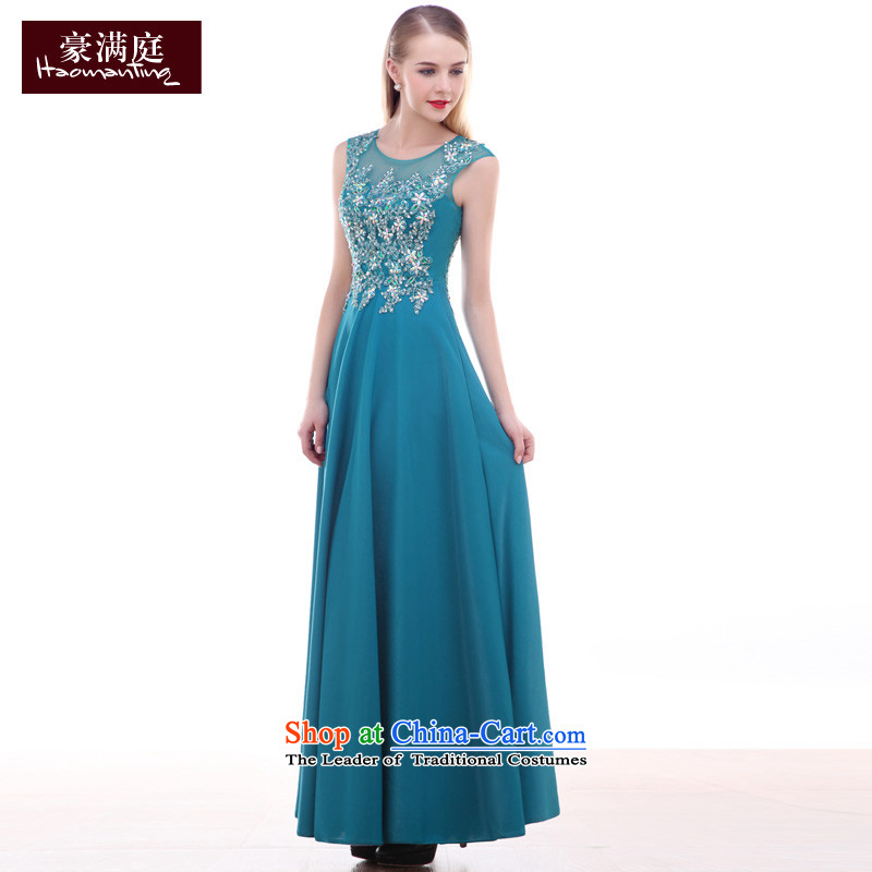 Stylish evening dress autumn 2015 new ball performance gathering wedding dress moderator long blue lake female blue?L