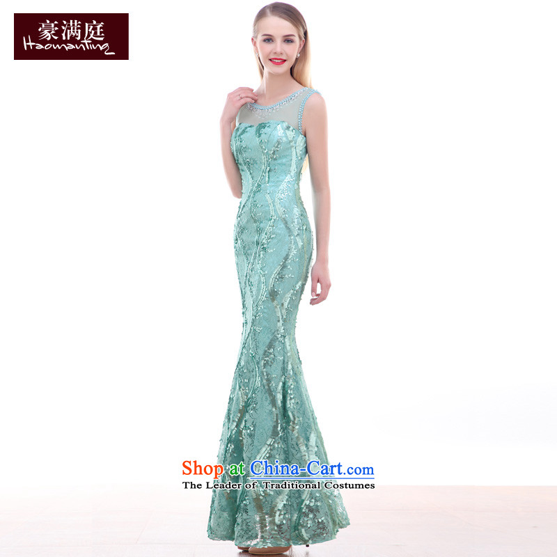 Ho full Chamber crowsfoot evening dress elegant long lace tabs on the prize presentation ceremony of the stage manners blue dress skirts, blue?S autumn economy