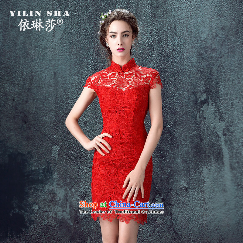 The bride wedding dress bows Services Mr Ronald New 2015 Skirt Red Stylish retro qipao lace Sau San evening dresses?XL