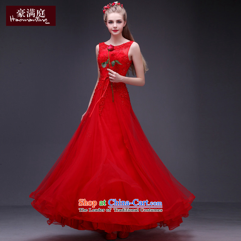 Ho full Chamber 2015 new autumn and winter red wedding dresses bows service wedding dress shoulders long large petticoats Zambia Red?S