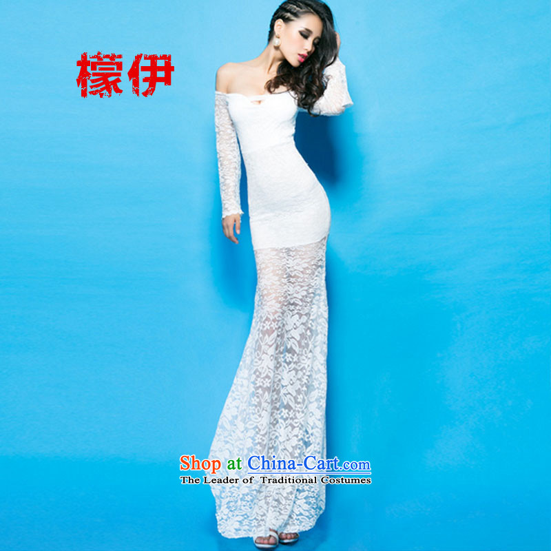 The city of 2015 Autumn Western Wind åüãä sexy goddess of the word for bare shoulders horn cuff crowsfoot long skirt skirt white 33 (mengyi be , , , shopping on the Internet)