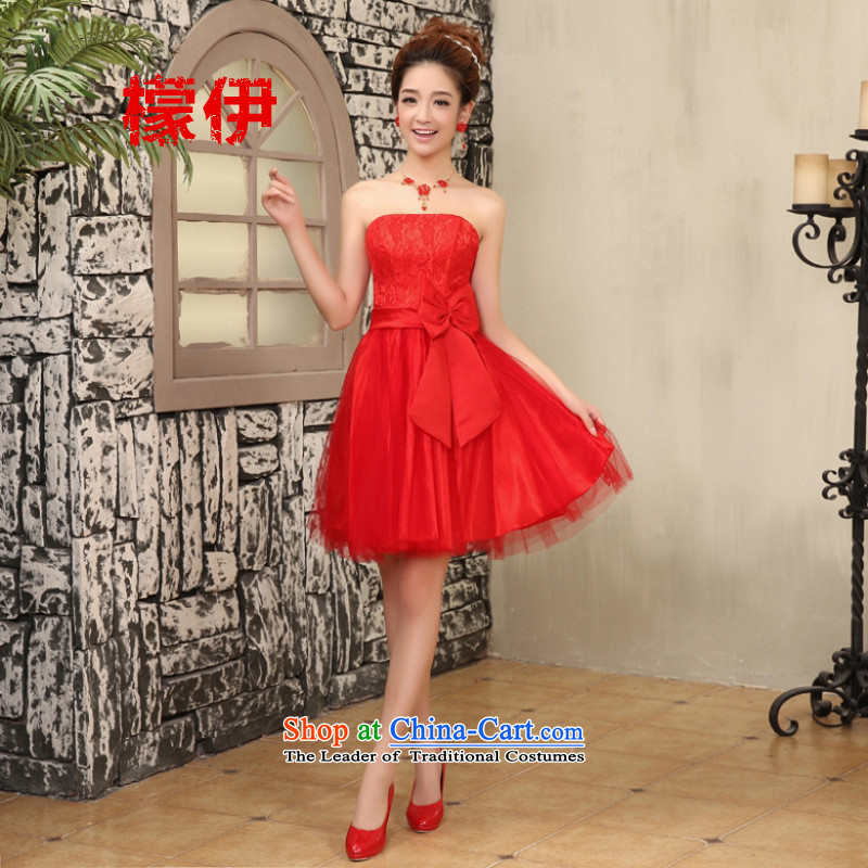 The city of?2015 bridesmaid Dress Short of small sister small dress bride bows to small Sau San dress code 80115 are red catty