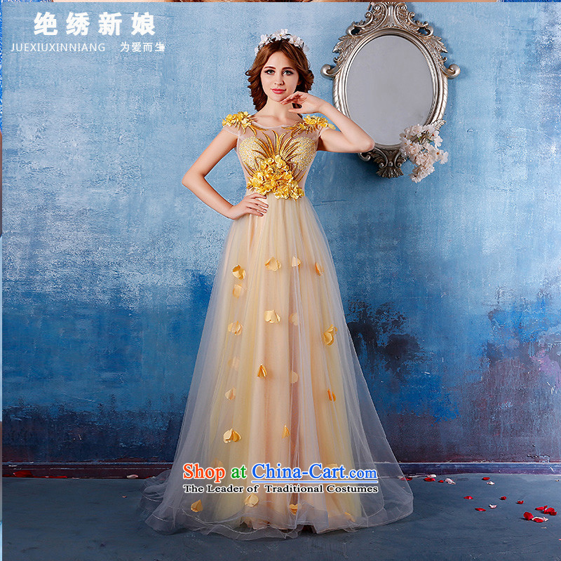 The bride evening dresses 2015 Summer new large graphics thin tail will light yellow?L?Suzhou Shipment