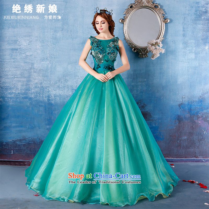 Embroidered bride?2015 summer is by no means new 2 shoulder length of large graphics performance dress thin green it does not allow for