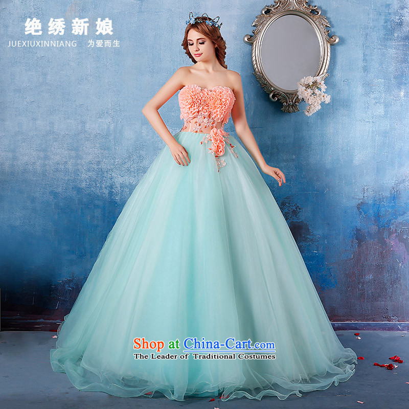 Summer 2015 new sexy anointed chest marriages wedding dress graphics and slender, Sau San will grass green?L?Suzhou Shipment