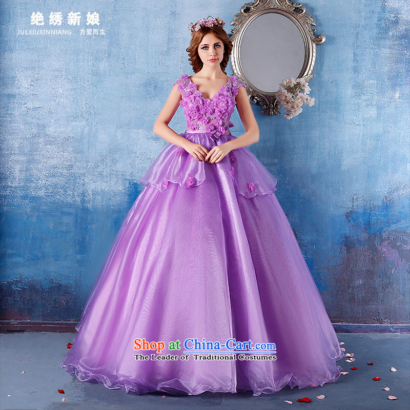 Embroidered bride?2015 summer is by no means new 2 shoulder length of wedding night will officiate at the larger video thin purple?S?Suzhou Shipment