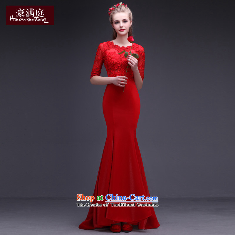 The Bride Red Dress marriage bows services crowsfoot Long Tail in small long-sleeved lace upscale banqueting red carpet evening dresses winter RED?M