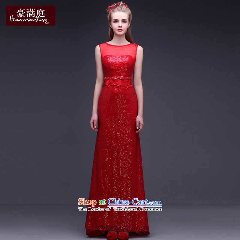 Banquet evening dresses long red elegance marriages bows service award ceremonies on trailing chip dress wine red�L