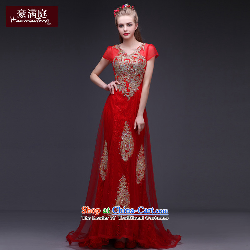 Red wedding dress 2015 new fall shoulders v-neck wedding dress bride bows services long tail evening red?S