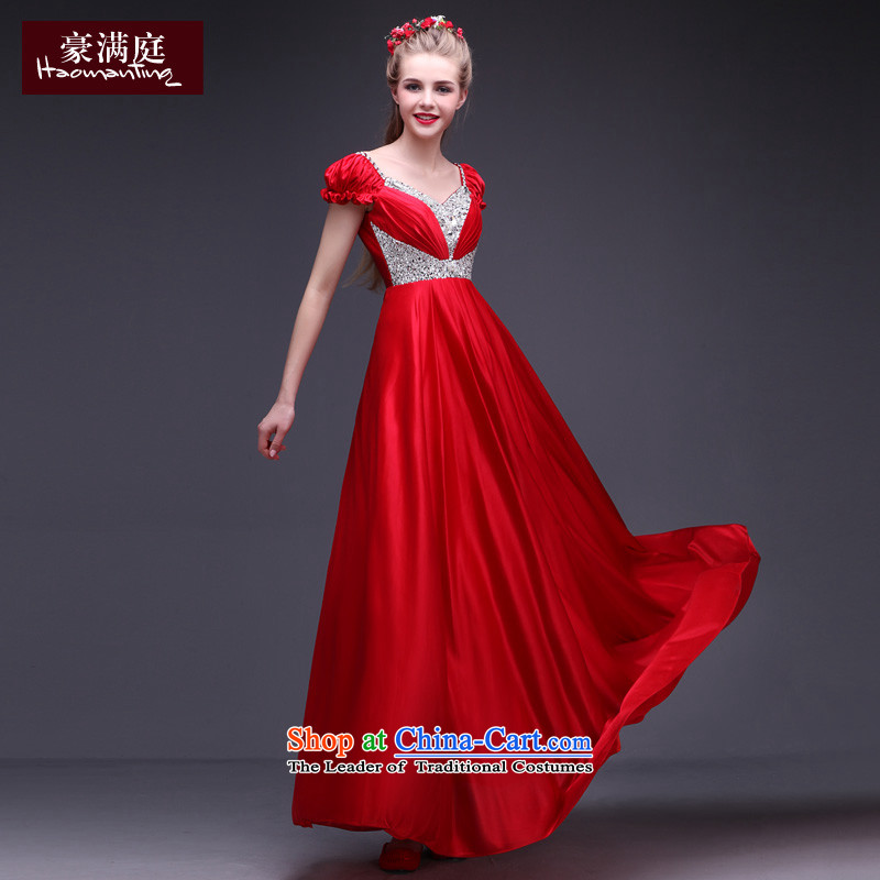 Ho full dress stylish chamber banquet long gathering stage moderator wedding dress skirt red autumn 2015 New Red?M
