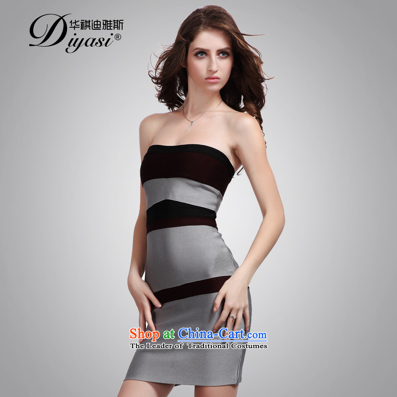 Hua Qi Avandia, stylish Gray Red stitching and Chest Service sexy bows nightclubs 2015 new women's dresses stitching?S