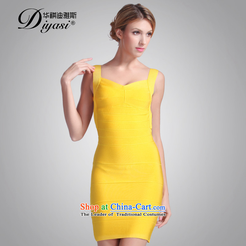 Hua Qi Avandia, nightclubs and sexy big terrace back under the auspices of show small thin package and video dress cosmopolitian dresses yellow?S