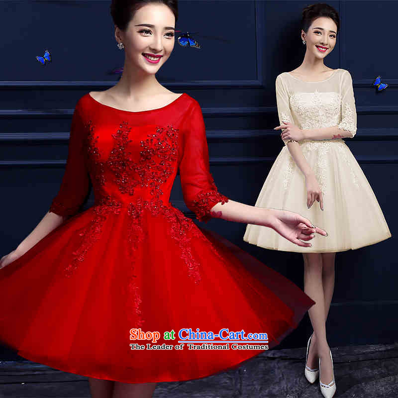 In 2015 a cuff HUNNZ field shoulder short stylish new red spring and summer evening dress bridal dresses banquet champagne color?S