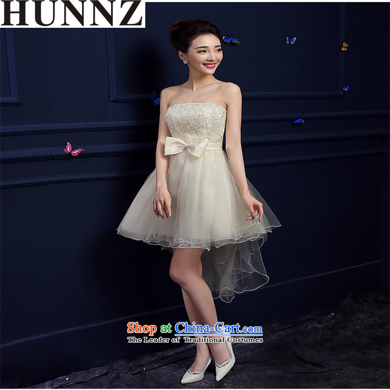 The new 2015 HUNNZ length of spring and summer, bridal dresses and stylish with chest bridesmaid service banquet dinner dress white champagne color�M