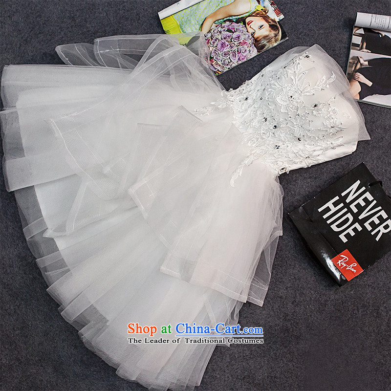 The new 2015 HUNNZ wiping the chest, the spring and summer bows services banquet evening dresses brides stylish white dress?S