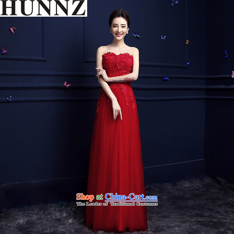 The new 2015 HUNNZ Stylish spring and summer Long Chest anointed red bride wedding dress banquet evening dresses RED?M