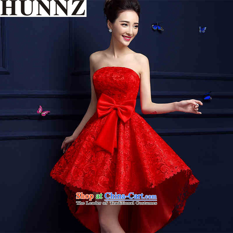The new 2015 HUNNZ Stylish spring and summer short long after the former red bride wedding dress bows service banquet red red�S