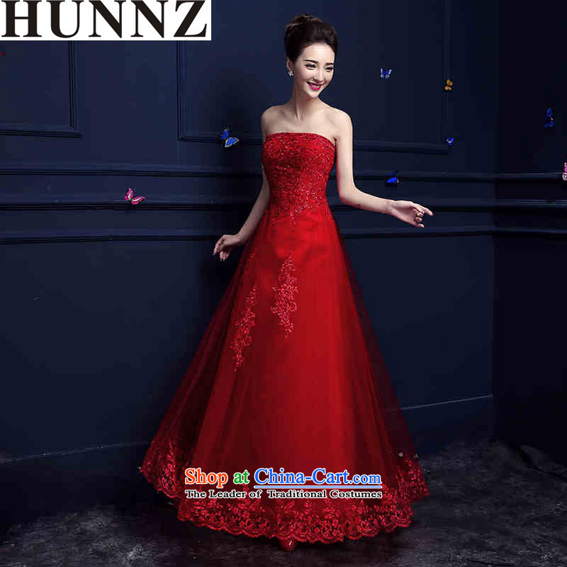2015 New Korea HUNNZ version stylish evening dresses red spring and summer long elegant banquet bridal dresses red?XL