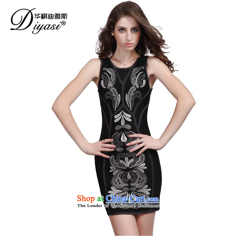 Hua Qi Avandia, original innovation, black embroidered bandages small sexy dress/strap package and short skirt) Black with flower?S