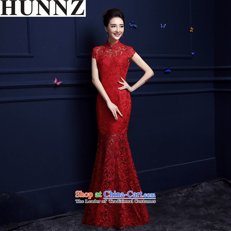 2015 Chinese beauty HUNNZ long red banquet style wedding dresses dress bride bows services red�S