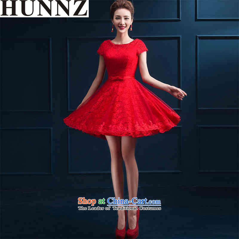 Hunnz  ?new spring and summer Korean Red, stylish wedding dress bows Service Bridal banquet evening dresses red?XXL