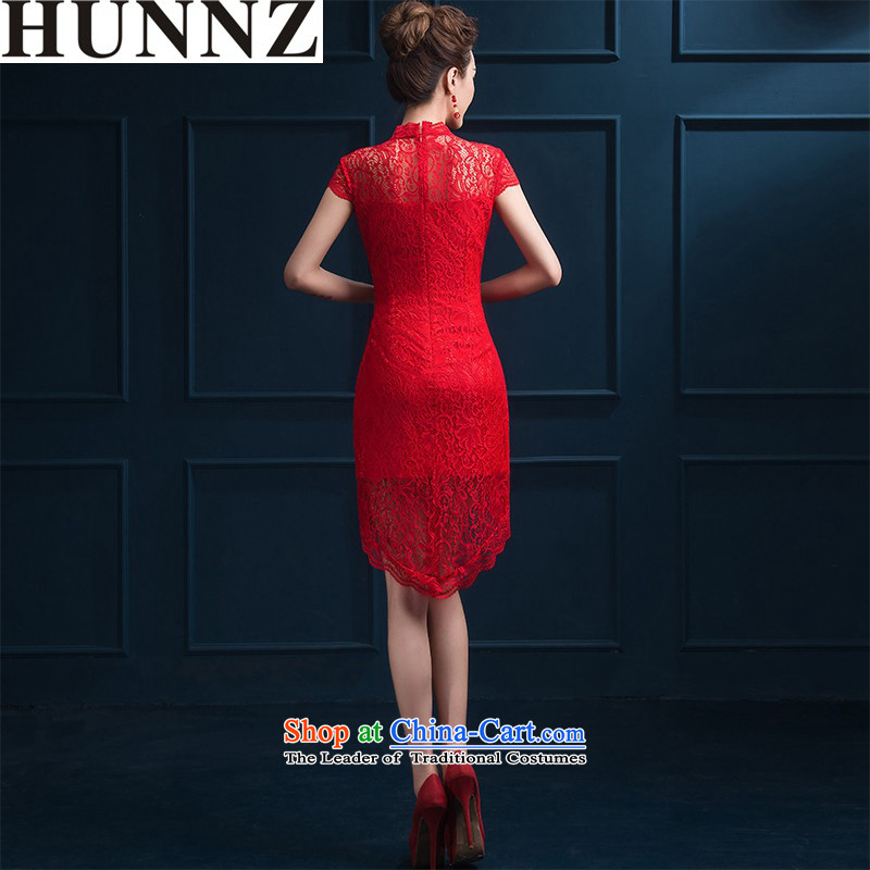 Hunnz  ?New Spring/Summer 2015 bride wedding dress retro style qipao Chinese banquet dress red?L )