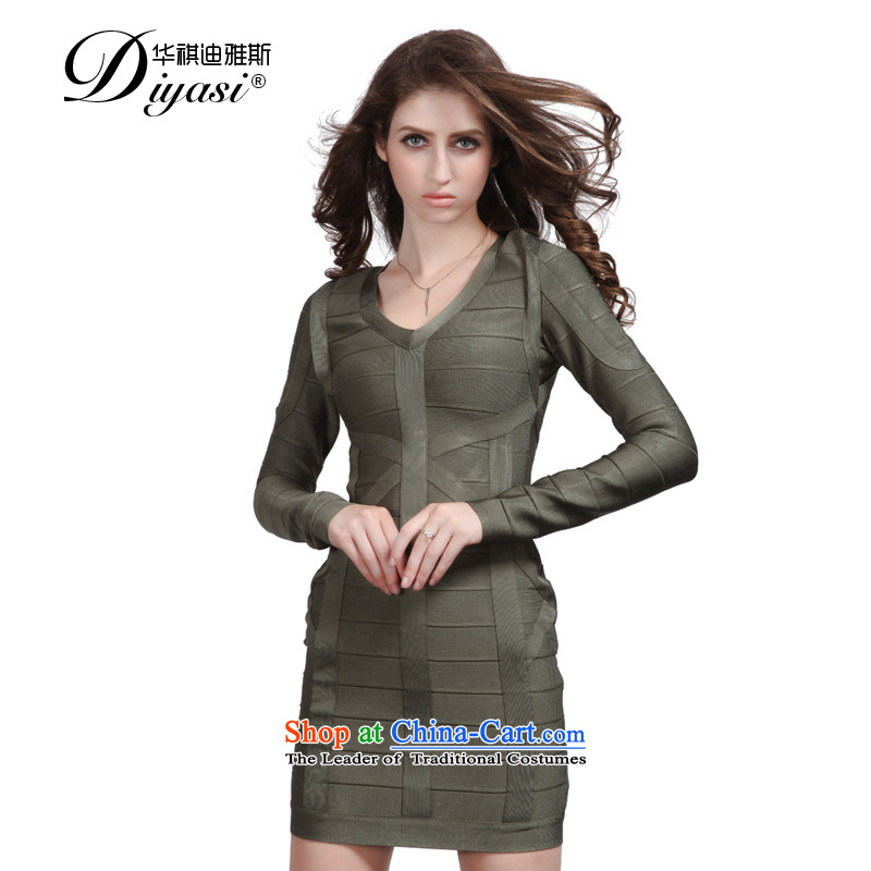 Hua Qi Avandia, new stylish new army green package and sexy V-Neck long-sleeved bandages dresses short of army green?L