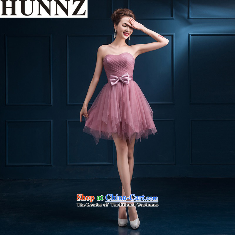 2015 new stylish HUNNZ evening dress upscale spring and summer bridesmaid to serve small Dress Short, bridal dresses bows services usual zongzi color F,?L