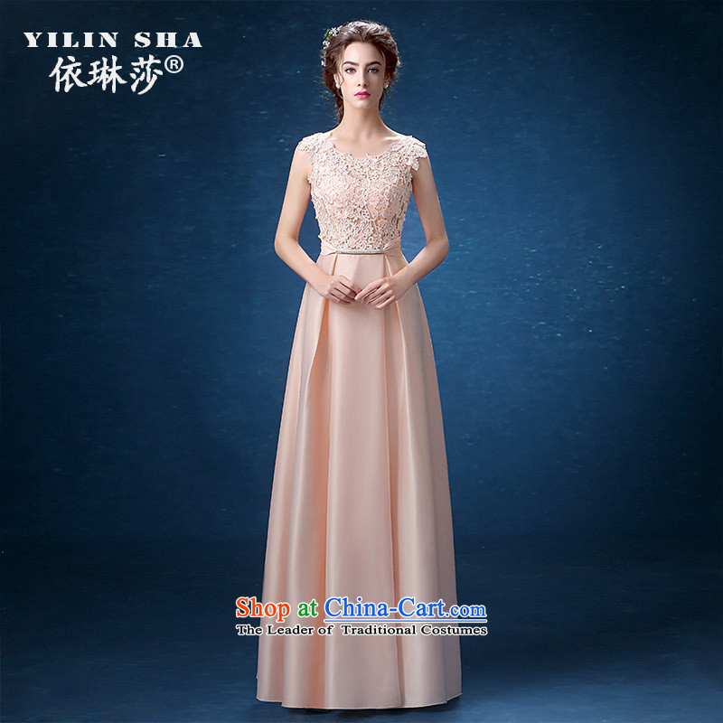 The shoulders, banquet evening dresses long 2015 new female annual summer show evening dress long skirt girl autumn pink M