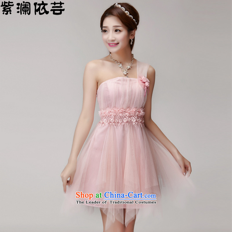 In accordance with its 2015 World first new bridesmaid mission dress evening dresses and sisters skirts banquet short of small dress LF015 pink? M