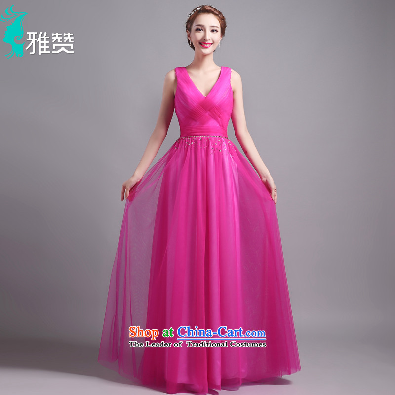Jacob Chan New evening dresses long shoulders V-Neck chiffon dress skirt 2015 Summer chaplain drill Foutune of video thin red better dress?XL