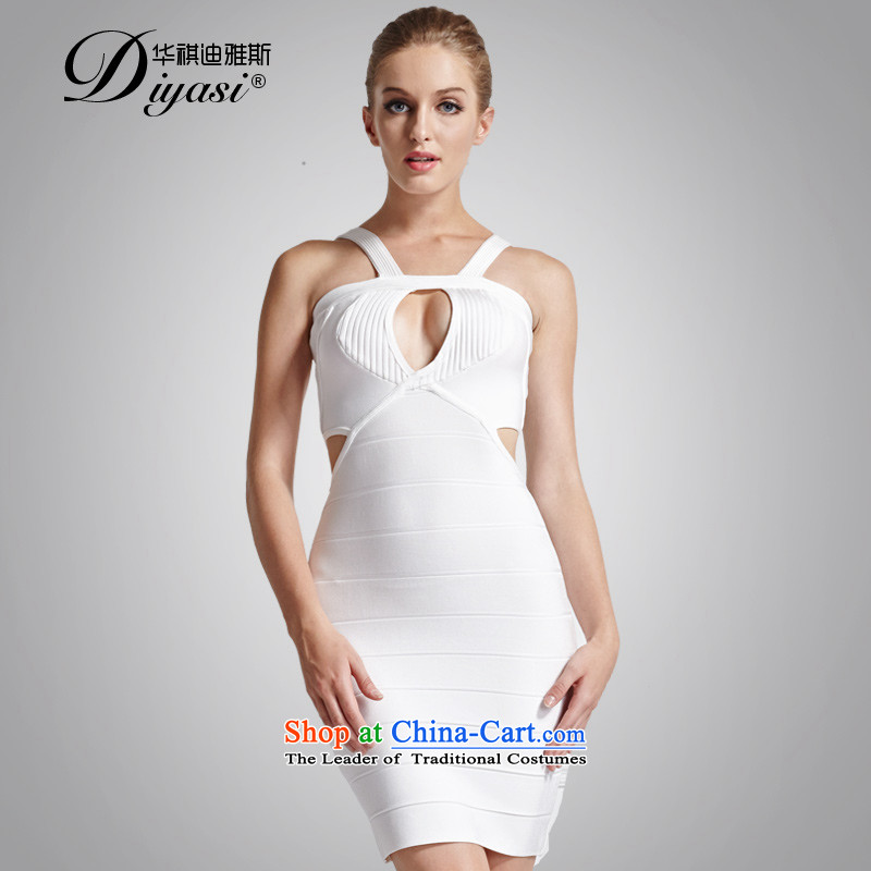 Hua Qi Avandia, sexy chest engraving bandages dresses open-chest straps package and short skirts, forming the Sau San White?M