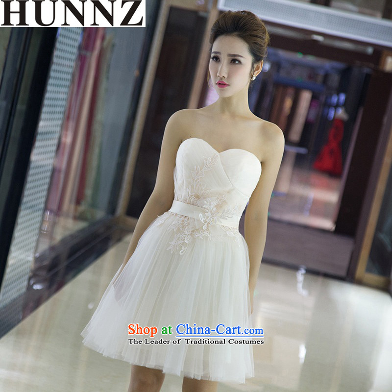 ?  ?Korean chest anointed HUNNZ stylish new 2015 Spring/Summer bows service bridal dresses banquet dinner dress white?L