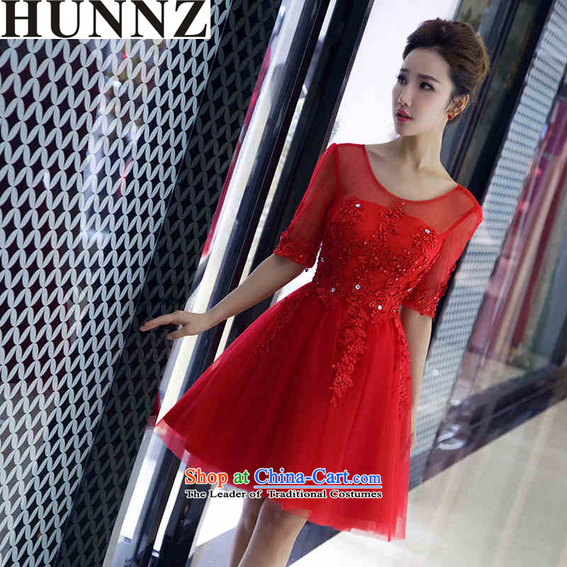 �  �Korean fashion 2015 HUNNZ new spring and summer large graphics thin package shoulder banquet evening dresses bows Service Bridal Red�XL