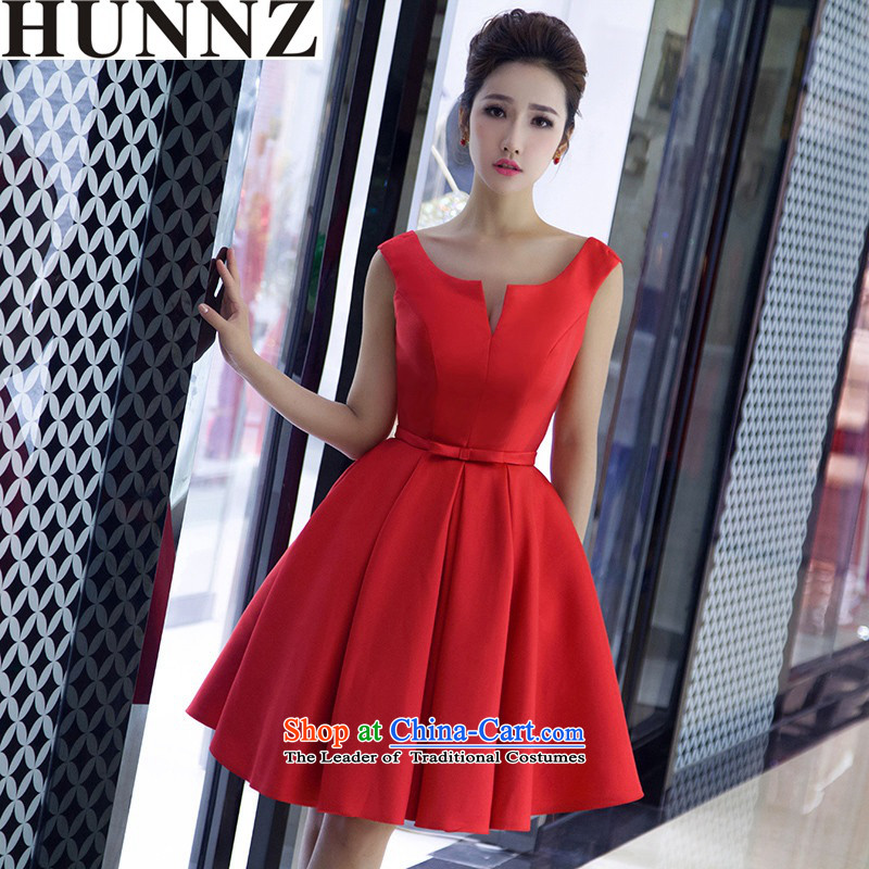Hunnz  ?Korean V-Neck short stylish new Spring/Summer 2015 Service bridal dresses red bows banquet dress red?XL
