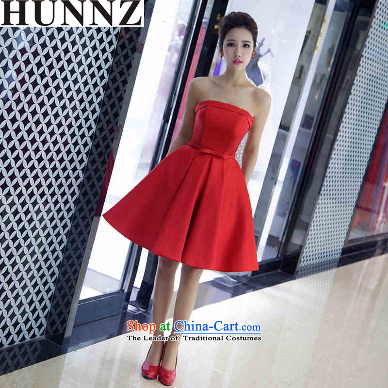 The new 2015 HUNNZ Korean style spring and summer short of the chest and dress red stylish evening dress bridal dresses banquet red�L