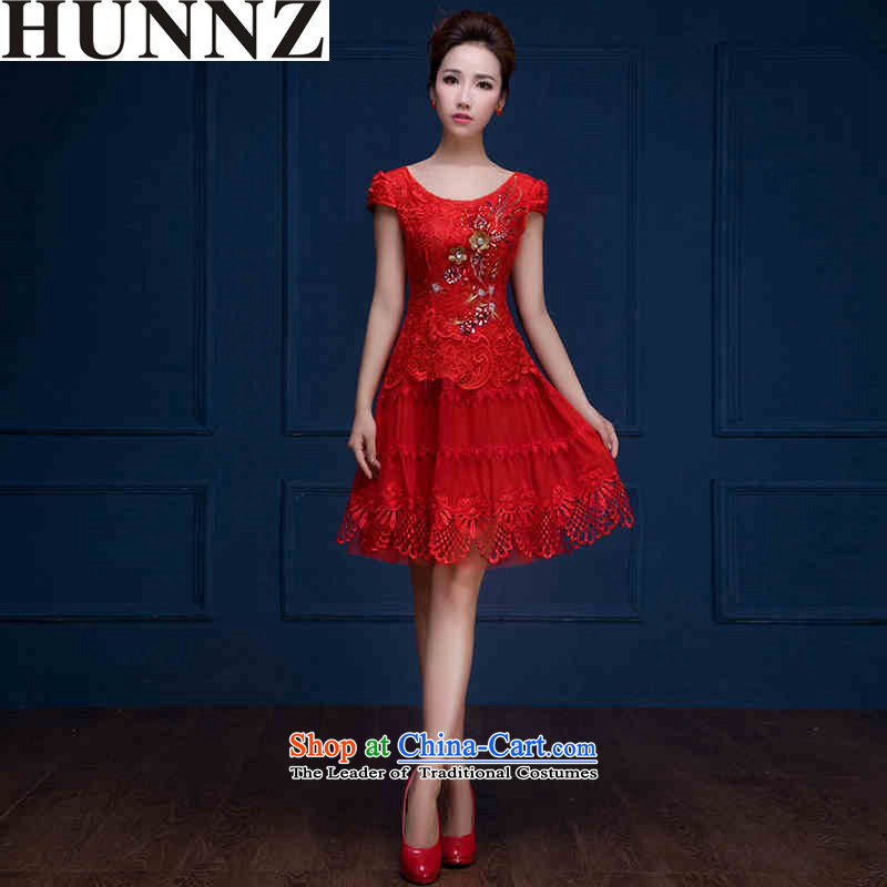 New stylish 2015 HUNNZ spring and summer red short, shoulders bows service bridal dresses Sau San evening dresses champagne color�M