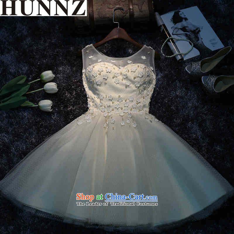 � �Korean trendy new HUNNZ No. 2015 spring/summer short of the new bride dress bows services banquet dinner dress champagne color�S